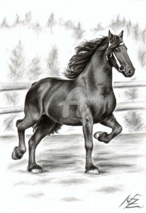 Friesian Horse - Painting, ©2013 by Arts & Dogs -                                                                                                                                                      horse, friese, cheval