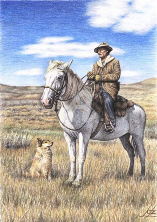 Montana Shepherd - Painting, ©2013 by Arts & Dogs -                                                                                                                                                                                                                                                                                                                                                                                                      Figurative, figurative-594, horse, cowboy, dog, drawing, montana, shepherd