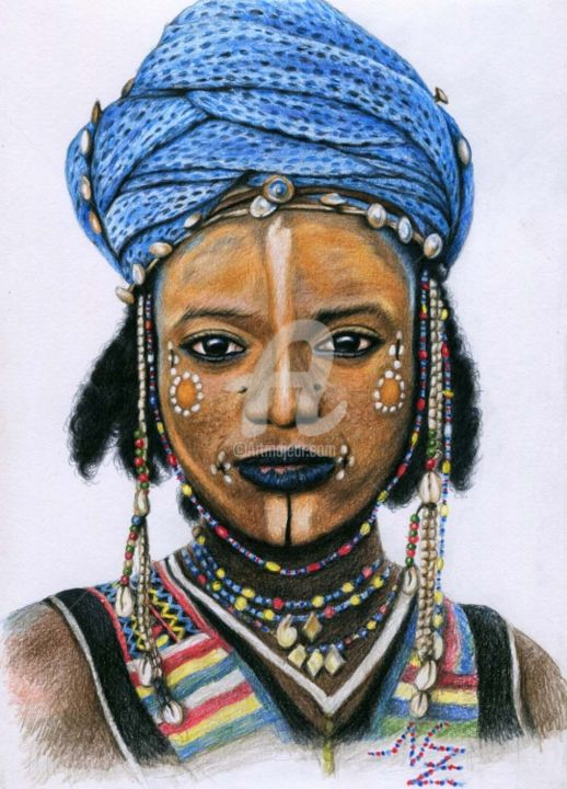 Young Wodaabe Man - Painting, ©2013 by Arts & Dogs -                                                                                                                                                                                                                                                                                                                                                                                                                                                                                                                                                                                                                                  Figurative, figurative-594, Portrait, wodaabe, niger, africa, face, boy, man, tribe, drawing, zeichnung, realism