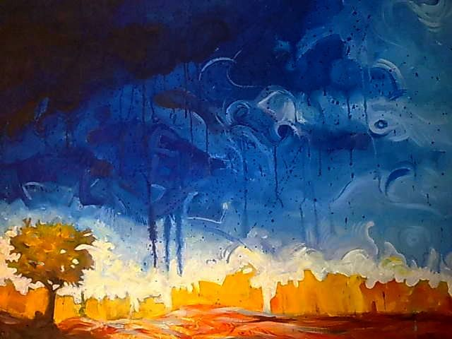 Stormy Sunshine - Painting,  1.6x1.2x0.8 in ©2019 by Collins Chima -                                                                    Abstract Expressionism, Abstract Art, Agriculture, Landscape, colours, landscape, cloud, abstract, tree