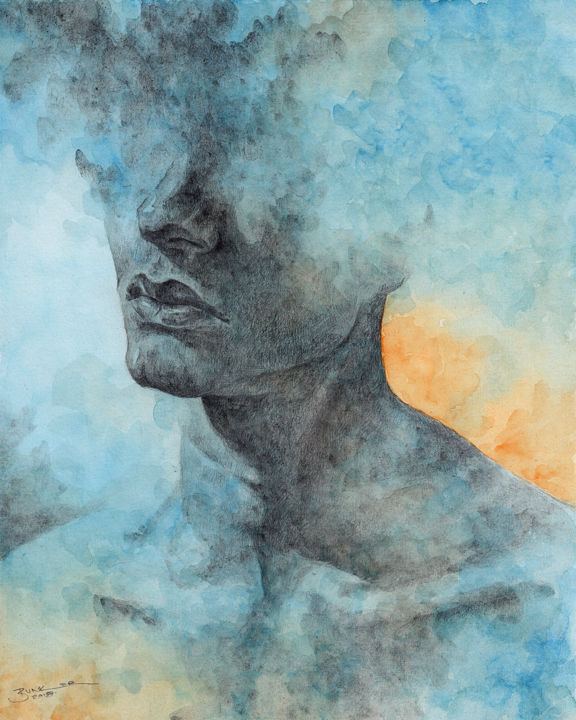 """Painting titled """"Untitled Portrait"""" by Jonathan Bunker, Original Art, Watercolor"""