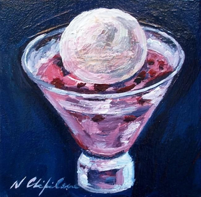 Coupe de glace - Painting,  20x20 cm ©2012 by Nath CHIPILOVA .  ШИПИЛОВА Нат. -                            Realism, coupe de glace ice cream