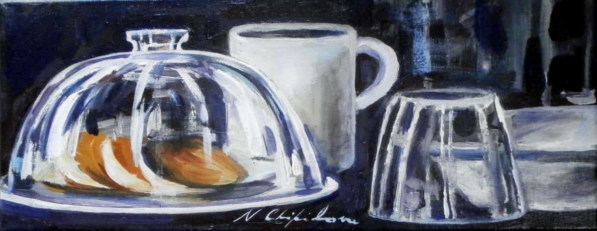 Nature morte avec une cloche en verre - Painting,  20x50 cm ©2013 by Nath CHIPILOVA .  ШИПИЛОВА Нат. -                                                                                                            Figurative Art, Art Deco, Impressionism, Realism, Canvas, Still life, Food & Drink, nature morte avec cloche en verre vaisselle porcelaine still live dishes