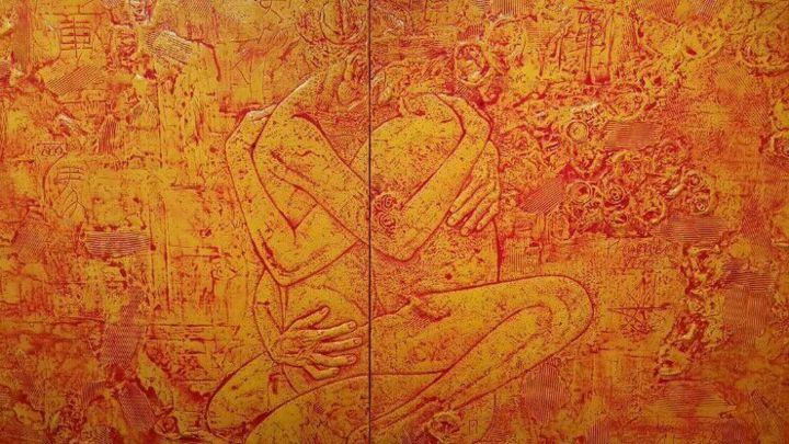 """Painting titled """"Relief 4"""" by Choon-Seok Roh, Original Art,"""