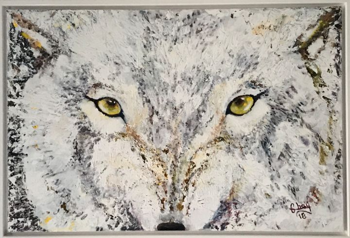 """Painting titled """"Loup"""" by Marie-Noelle Chauny, Original Art, Acrylic Mounted on Stretcher frame"""