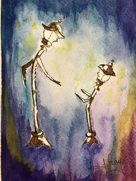 """Painting titled """"Lampadaires"""" by Marie-Noelle Chauny, Original Art, Watercolor"""