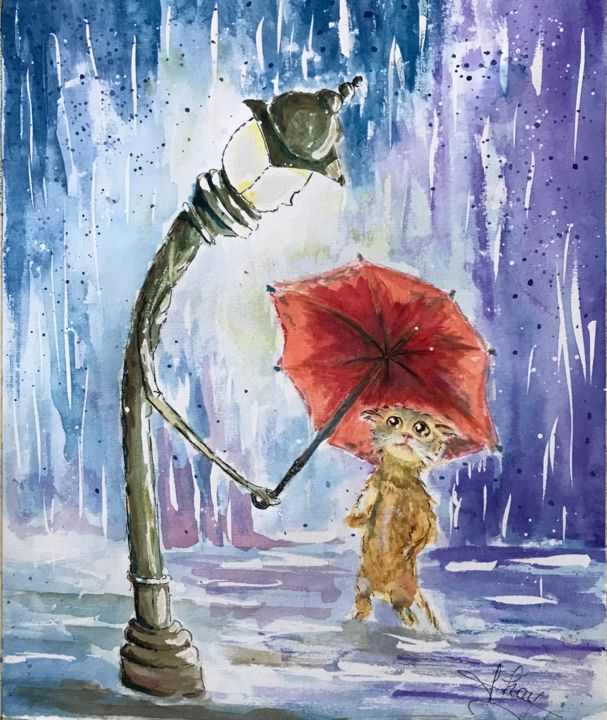 """Painting titled """"Chaton mouillé"""" by Marie-Noelle Chauny, Original Art, Watercolor"""