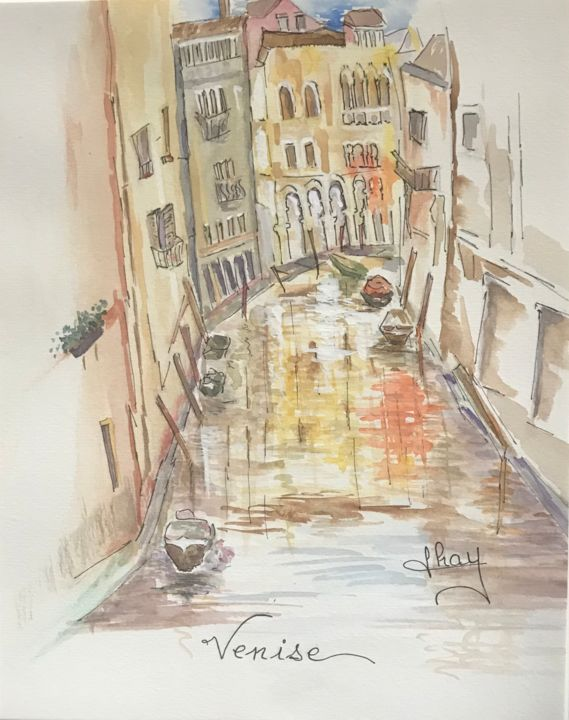 """Painting titled """"Venise"""" by Marie-Noelle Chauny, Original Art, Watercolor"""