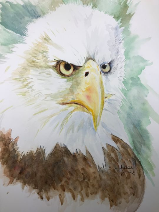 """Painting titled """"That look!"""" by Marie-Noelle Chauny, Original Art, Watercolor"""