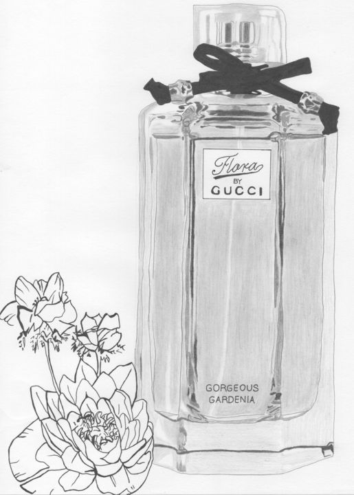 """Drawing titled """"Gorgeous Gardenia"""" by Christofer Donazzon, Original Art, Pencil"""