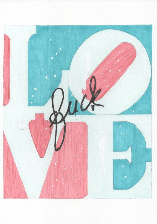"""Drawing titled """"F*ck Love"""" by Christofer Donazzon, Original Art, Marker"""