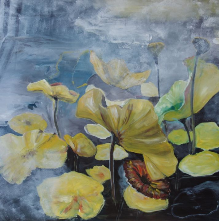 Fleur de Lotus - Painting,  100x100x6 cm ©2004 by Chris Le Guen Drianne -                                                            Figurative Art, Canvas, Flower, primaires, fleur, lotus