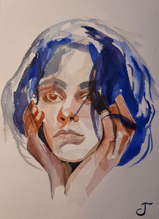 Pensive... - Painting,  9.5x7.1 in, ©2019 by Chris Texier -                                                                                                                                                                                                                                                                                                                  Figurative, figurative-594, Portraits, pensive, jeune femme, jeune beauté