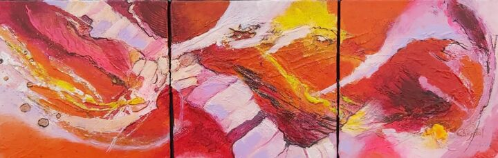 VITALITE - Painting,  15.8x31.5x1.6 in, ©2019 by Christiane Hess (CHRYSTAL) -                                                                                                                                                                                                                                                                                                                                                                                                                                                                                                                                                                                                                                                                                                                          Abstract, abstract-570, peinture acrylique, abstraite, toile, art mural, contemporain, modern art, modern painting, colourfull painting, wall art, wall decor, couleurs, pattern, abstract painting