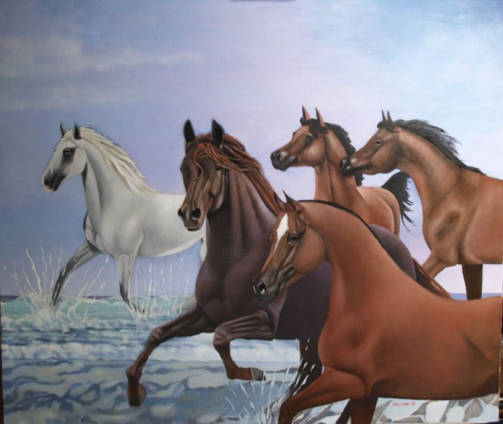 153-5-horses-running-in-the-sea.jpg - Painting,  40x47x2 in ©2007 by christopher skelton -                                                            Realism, Wood, Horses, five, horses, running, sea