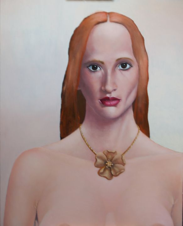 184-red-haired-girl.jpg - Painting,  30x24x1 in ©2015 by christopher skelton -                                                            Realism, Wood, Portraits, portrait, young, lady, red, hair, bronze, necklace