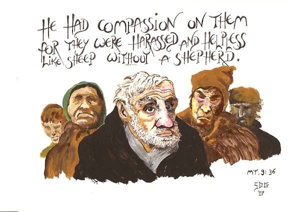 """Drawing titled """"He had Compassion o…"""" by Hardy Loeffler, Original Art,"""