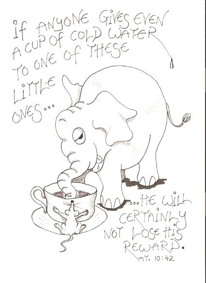 """Drawing titled """"A Cup of Cold Water"""" by Hardy Loeffler, Original Art,"""