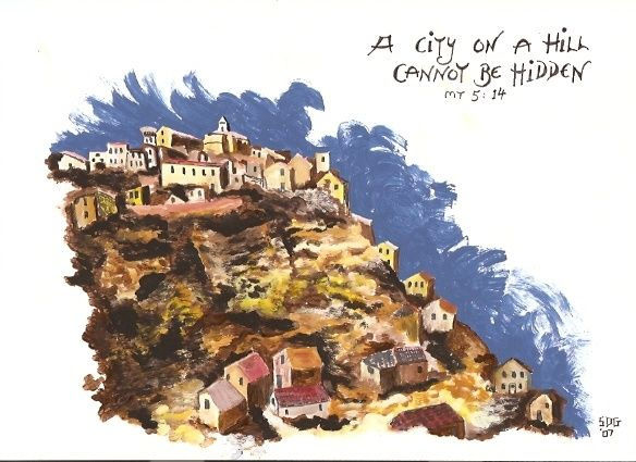 """Drawing titled """"A City on a Hill"""" by Hardy Loeffler, Original Art,"""