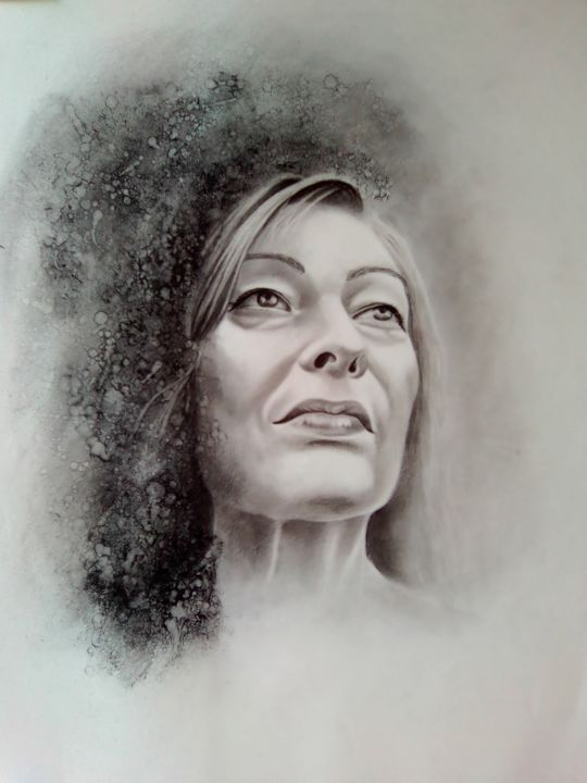 05.02 - Drawing,  65x50 cm ©2018 by christelle fontenoy -                                                                                                                                    Figurative Art, Paper arts, Portraiture, Realism, Paper, Women, Light, Black and White, People, christelle fontenoy, portrait, femme, visage, tête, fusain, dessin