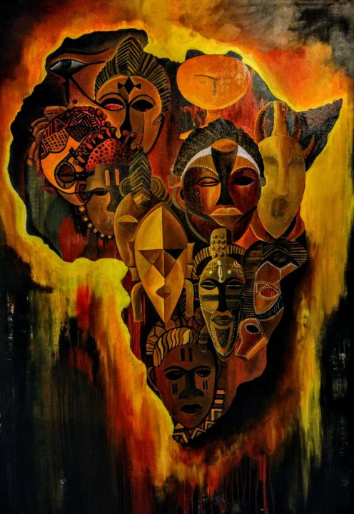 """Painting titled """"Agony of a continent"""" by Ayem, Original Art, Acrylic"""