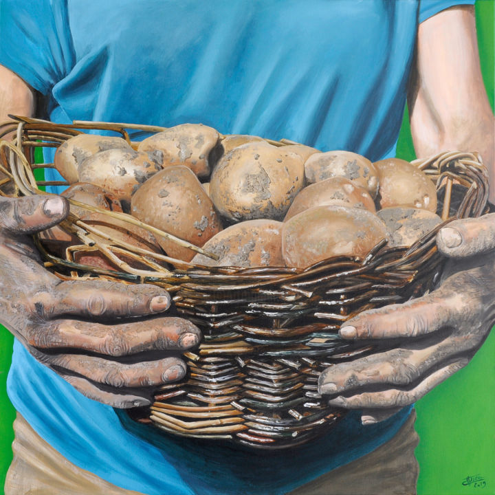 Terre - Peinture,  31,5x31,5x0,8 in, ©2019 par Christian Assel -                                                                                                                                                                                                                                                                                                                                                                                                                                                                                                  Hyperrealism, hyperrealism-612, Agriculture, terre, pommes, panier, osier, mains, travail, agriculture