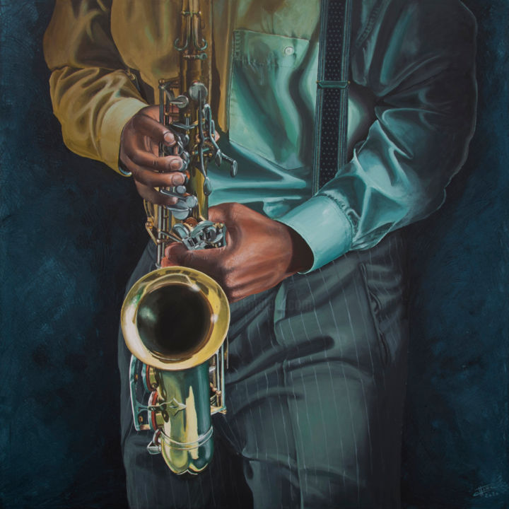 fake saxo - Painting,  35.4x35.4x1.2 in, ©2020 by Christian Assel -                                                                                                                                                                                                                                                                      Hyperrealism, hyperrealism-612, Music, saxo, musique