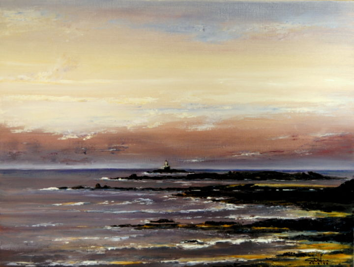 Quiberon - Le Conguel - Painting ©2013 by Christian BIARD -                            Realism, Christian BIARD, Quiberon, Phare de la Teignouse.