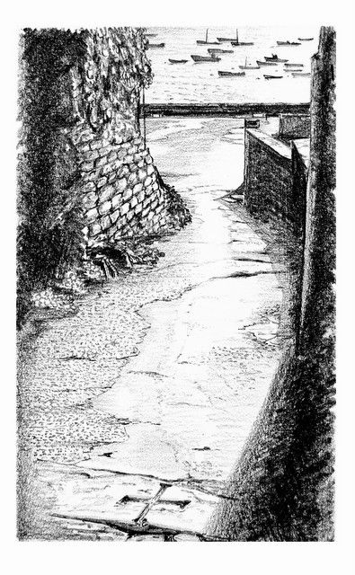 "Ruelle à Molène.Le ""Ribin de chez Fanfan"". - Drawing ©2012 by Christian BIARD -                                                        Figurative Art, Black and White, Love / Romance, Christian Biard, peintures marines, dessin à la mine de plomb"