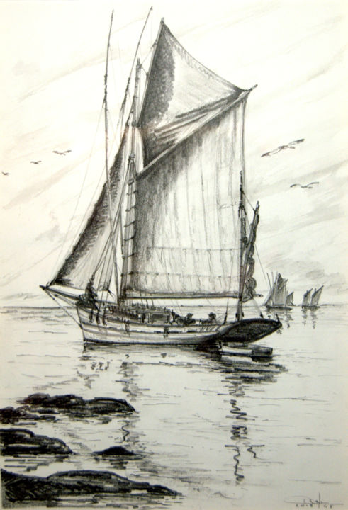 Le Thonier - Drawing,  12.6x8.7 in, ©2013 by Christian BIARD -                                                                                                                                                                                                                                                                                                                                                                                                                                                      Figurative, figurative-594, Sailboat, Thonier, dessin marines, mine de plomb, graphite, vieux voiliers, pêche au thon