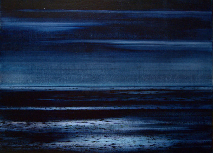 Ombres et lumières - Painting,  21.3x28.7x1.2 in, ©2016 by Christian BIARD -                                                                                                                                                                                                                                                                                                                                                                                                          Figurative, figurative-594, Seascape, Peinture Christian Biard, Marines Christian Biard, ombres sur la mer, Nuit sur mer, lumières sur la mer