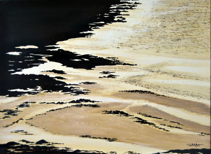 On dirait la mer 3 - Painting,  54x73x2 cm ©2016 by Christian BIARD -                                                            Figurative Art, Canvas, Nature, huile, marines, Christian Biard, Plage, bord de mer, sable et rochers