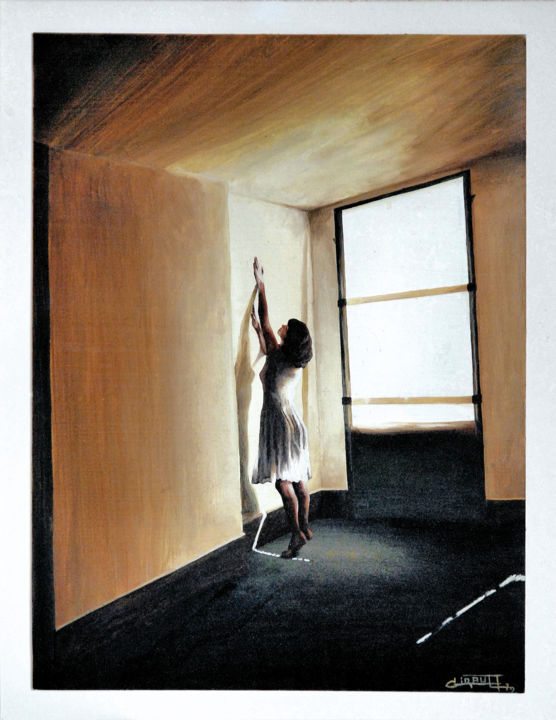 Sharon and the big shadow - Painting, ©1979 by Christian Girault -                                                                                                                                                                                                                                                                                                                                                                                                                                                                                                                                                                                                                                                                                                                                  Figurative, figurative-594, Other, Love / Romance, Women, Light, Wall, People, ombre, fenetre, fille, robe, contraste, porte, pose