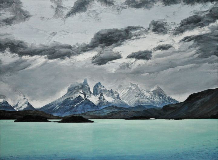 Cuernos del Paine (Save the beauty n° 6) - Ζωγραφική,  54x73 cm ©2013 από Christian Girault -                                                                                                Εικονιστικής τέχνης, Ρεαλισμός, Καμβάς, Φύση, Τοπία, Ταξίδι, Cuernos del Paine, cuerno, corne, Paine, Patagonie, Amerique, Chili, lac, Pehoe, bleu, bleute, montagne, spectaculaire, vent, nuage, ciel, neige, glace, tempete