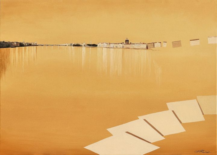 Saint-Petersburg (The abstraction of cities n° 1) - Painting,  18.1x25.6 in, ©2009 by Christian Girault -                                                                                                                                                                                                                                                                                                                                                                                                                                                                                                                                                                                                                                                                                                                                                                                                                                                                                                                                                                                                      Figurative, figurative-594, Architecture, Light, Cities, Travel, Saint-Petersbourg, Petersbourg, Neva, crepuscule, couchant, orange, baroque, destructuration, abstraction, coupole, dome, pont, reflet, espace, ouverture