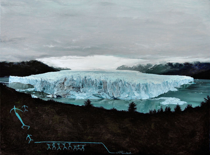 Perito Moreno (Save the beauty n° 2) - Painting,  54x73 cm ©2009 by Christian Girault -                                                                                                                        Figurative Art, Realism, Canvas, Water, Places, Nature, Landscape, Travel, Perito, Moreno, glacier, serac, glace, neige, nuage, nuageux, maussade, Amerique, Argentine, Patagonie, peinture, rupestre, lac, Argentino