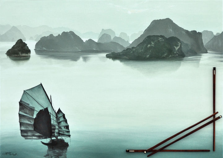 Along, like butterfly - Painting,  18.1x25.6 in, ©2008 by Christian Girault -                                                                                                                                                                                                                                                                                                                                                                                                                                                                                                                                                                                                                                                                                                                                                                                                                                                                                                                                                                                                                                                                                                                                          Figurative, figurative-594, Asia, Boat, Nature, Seascape, Travel, Asie, Vietnam, Along, baie, rocher, mer, jade, jonque, voile, crepuscule, brumeux, brume, couchant, navigation, reflet, baguette, collage