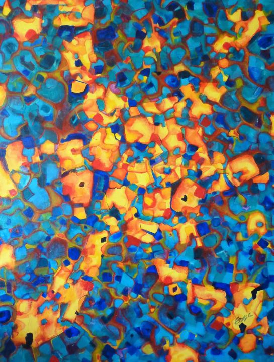 Sans titre 8 - Painting,  91x73x2 cm ©2008 by Christian HUNZIKER -                                                            Abstract Art, Canvas, Abstract Art, Jaune