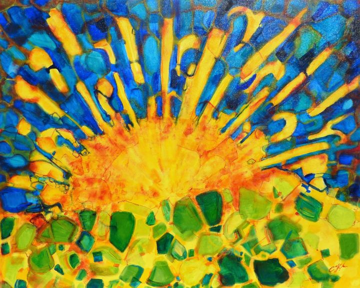 Grand Soleil - Painting,  81x100x2 cm ©2017 by Christian HUNZIKER -                                                            Figurative Art, Canvas, Landscape, Soleil/Jaune/Bleu/Orange/Vert