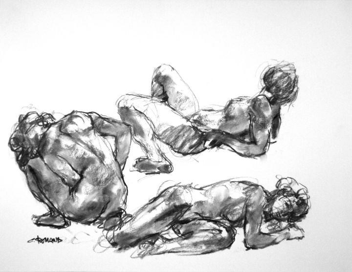 """Drawing titled """"fusain 50/65 2008 18"""" by Christian Rolland, Original Art, Charcoal"""