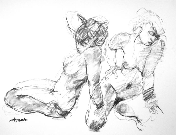 """Drawing titled """"fusain 50/65 2008 19"""" by Christian Rolland, Original Art, Charcoal"""