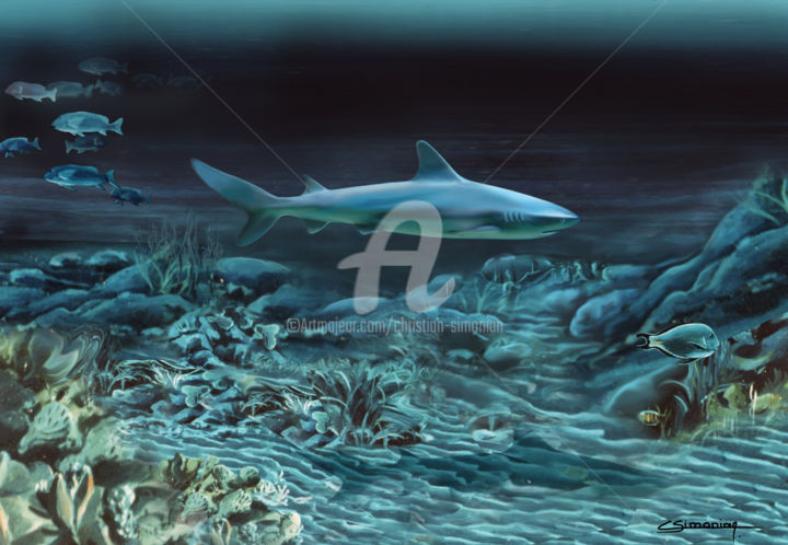 Fifty shades of blue - Painting ©1979 by Christian Simonian -                                                                            Environmental Art, Figurative Art, Classicism, Nature, Seascape