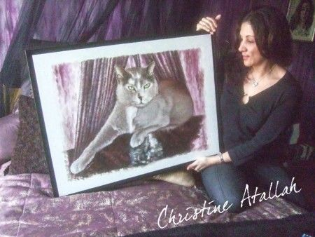 Thank you from Christine Atallah (singer) for her cat Felicity - Merci de Christine Atallah (chanteuse) pour la peinture de Félicité