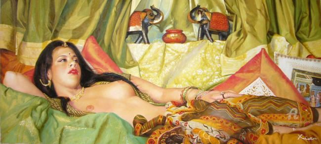 Flagrant Delhi - Peinture,  26x59,8x0,4 in, ©2008 par Xian, Collectif D'Artistes -                                                                                                              Nu, indian oil figurative nude oil huile nu orientalisme hindoue lascive classsic Renoir Courbet Ingres