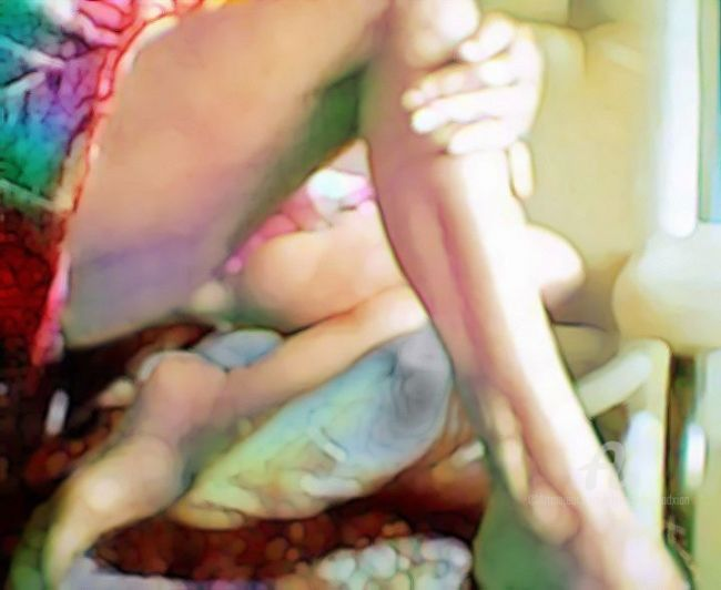 Pinky - Painting,  94x51 cm ©2007 by Xian, collectif d'artistes -                            Fauvism, Pink rose vert green legs jambe nude nu sexy
