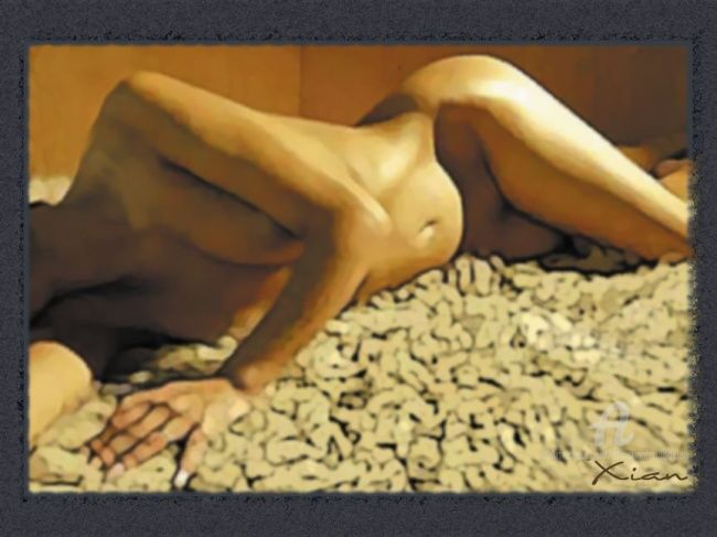 Trophée de chasse - Painting,  91x69 cm ©2007 by Xian, collectif d'artistes -                            Nude, nude nu moody brun beige browwn naked woman femme