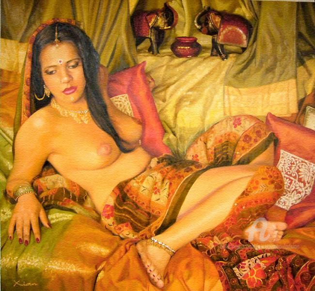 Entre'Actes - Painting,  97x91 cm ©2007 by Xian, collectif d'artistes -                            World Culture, Indoue Indian girl orientalisme green orange gold or vert sari nude  nue seins breast