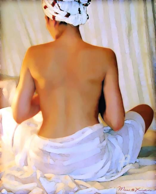 L'attente - Painting,  114x91 cm ©2007 by Xian, collectif d'artistes -                            World Culture, Ingres back dos nude nue woman femme blanc white tente tente orientaliste orientalist