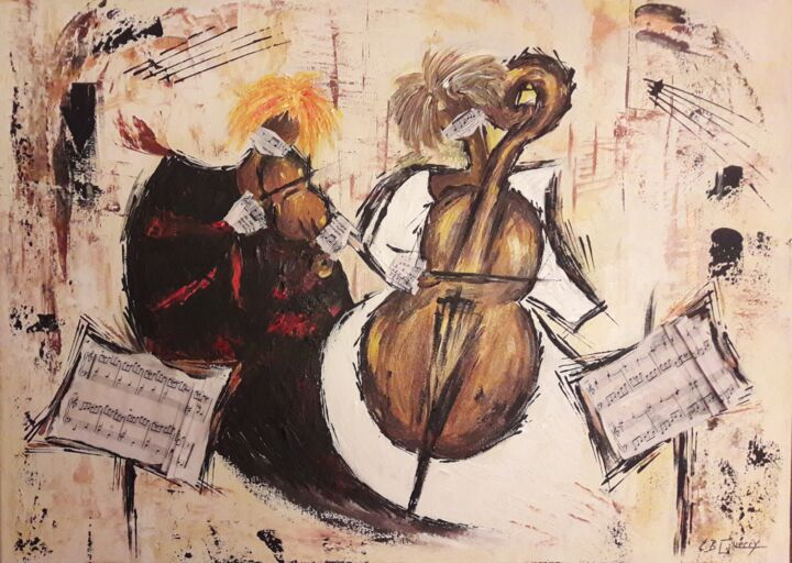 """Painting titled """"MUSICIENNES EN TEMP…"""" by Christiane Guerry (C.B.GUERRY), Original Art, Acrylic"""