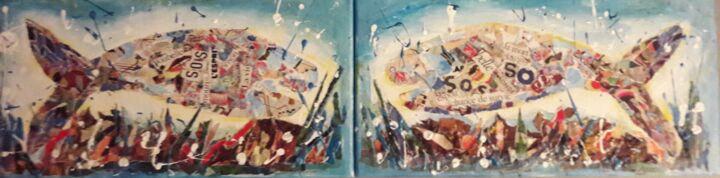 """Painting titled """"SAVE THE SEA"""" by Christiane Guerry (C.B.GUERRY), Original Art, Collages Mounted on Stretcher frame"""